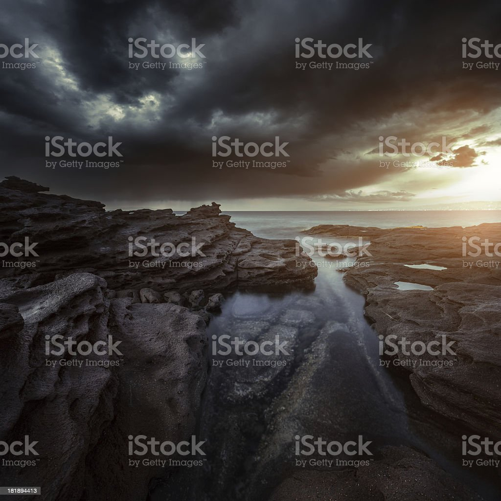 Evening sunset on sea royalty-free stock photo