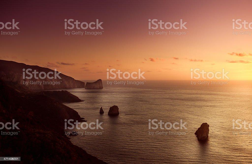 Evening sunset on sea stock photo