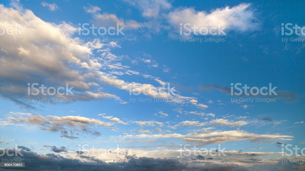 Evening sunset view of beautiful sky stock photo
