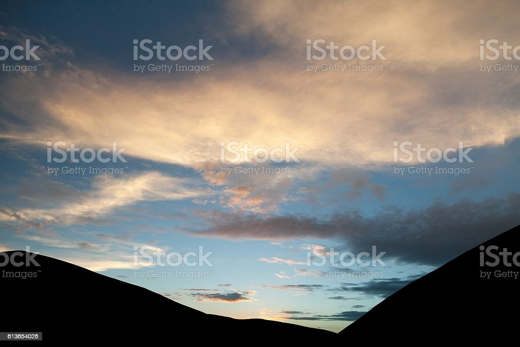 Evening sunset view of beautiful sky stock photo