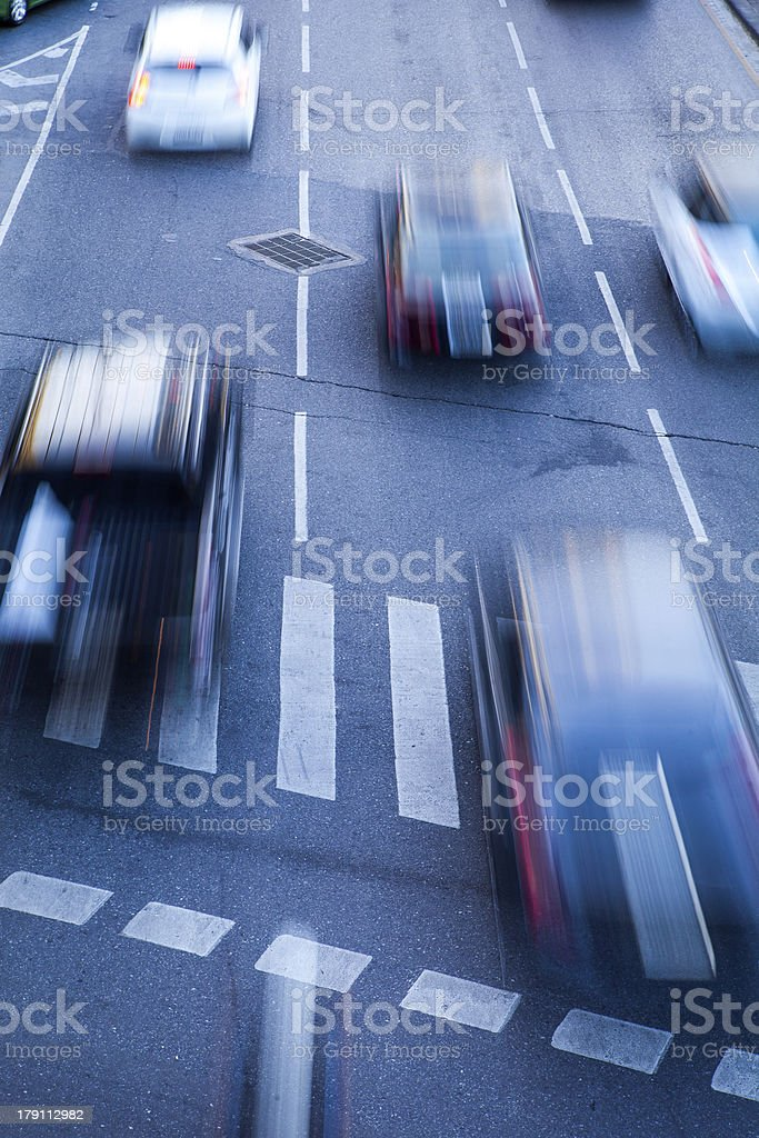 Evening Taxi Motion Blur of Fast Cars traffic on road royalty-free stock photo