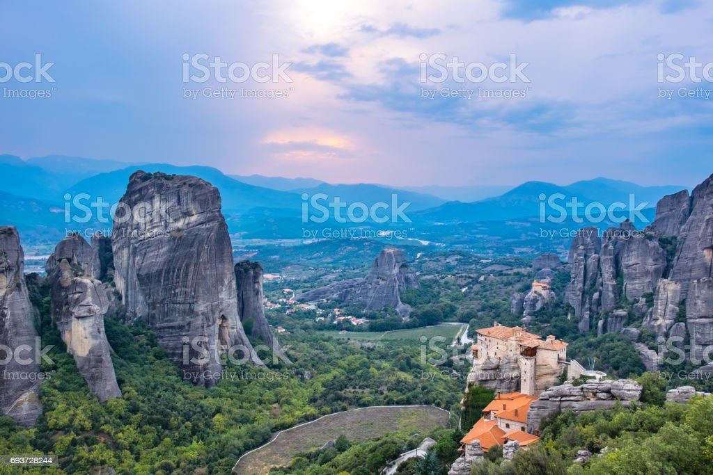 Evening time at Meteora. Plain of Thessaly, Greece stock photo
