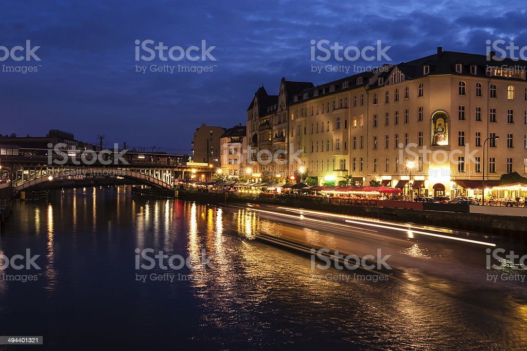 evening time in berlin stock photo