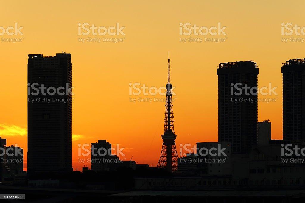 Evening Tokyo Tower stock photo