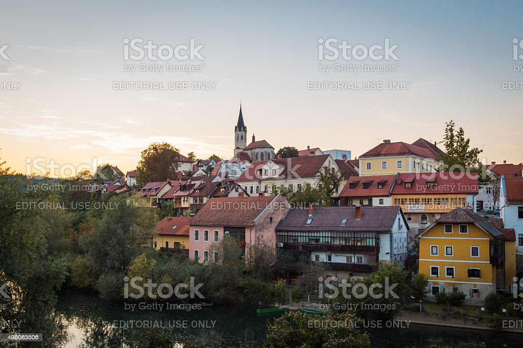 Evening town view. stock photo