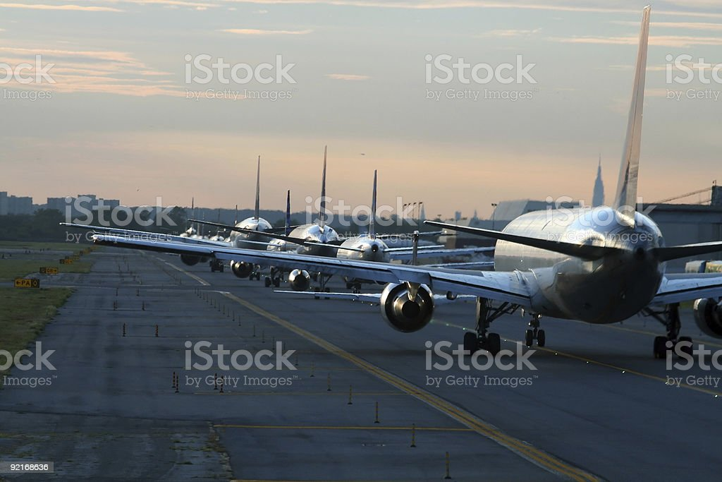 evening traffic at airport stock photo