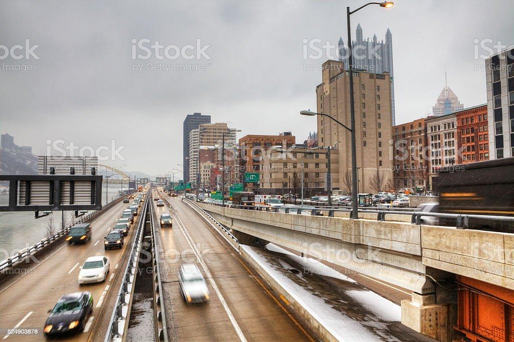 Evening traffic in Pittsburgh, Pennsylvania stock photo