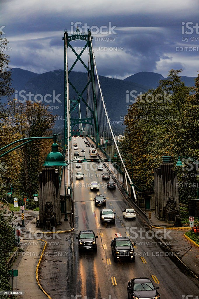 Evening Traffic on Lions Gate Bridge in Vancouver stock photo