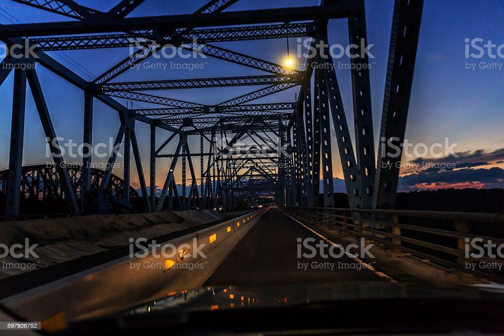 Evening Twilight Car Traffic on Hudson River Crossing Expressway Bridge stock photo