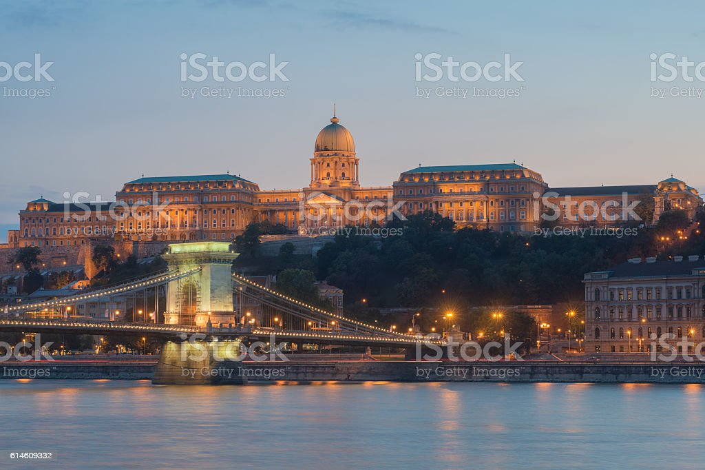 Evening view at Buda Castle stock photo