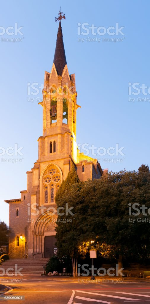 Evening view at Esglesia Major tower in Barcelona stock photo