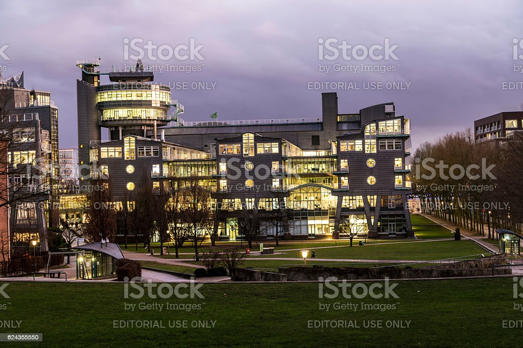 evening view at Michelwiese in Hamburg stock photo