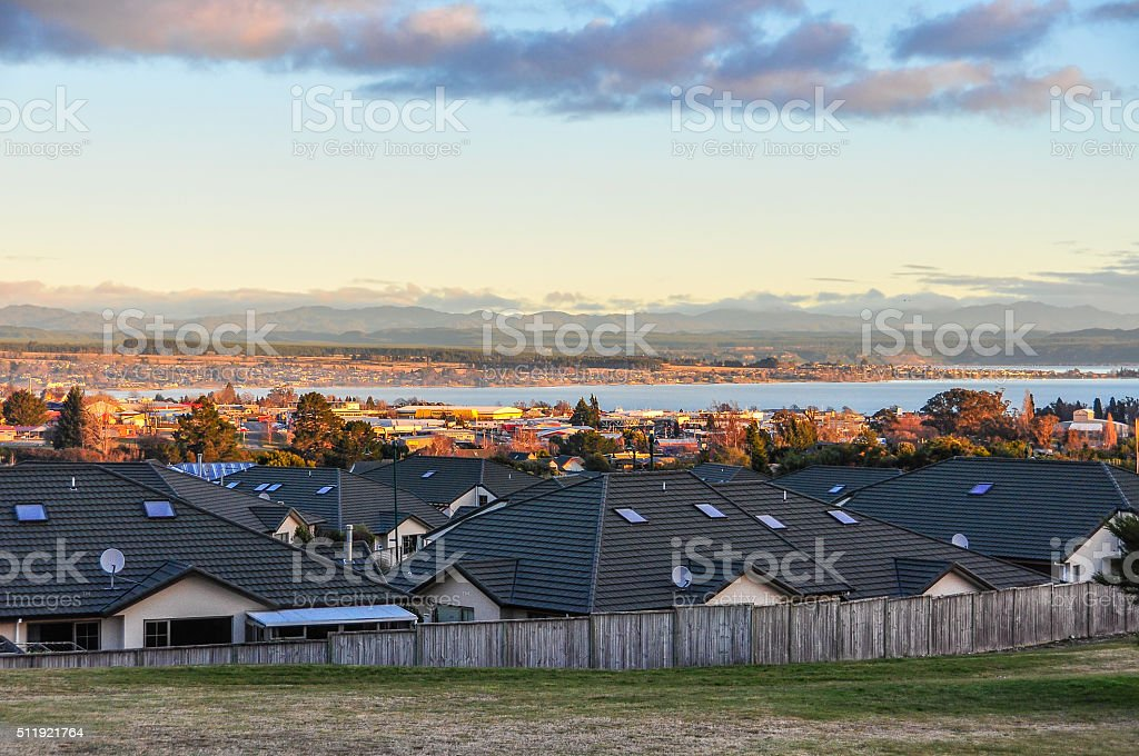 Evening view at sunset in Lake Taupo, New Zealand stock photo