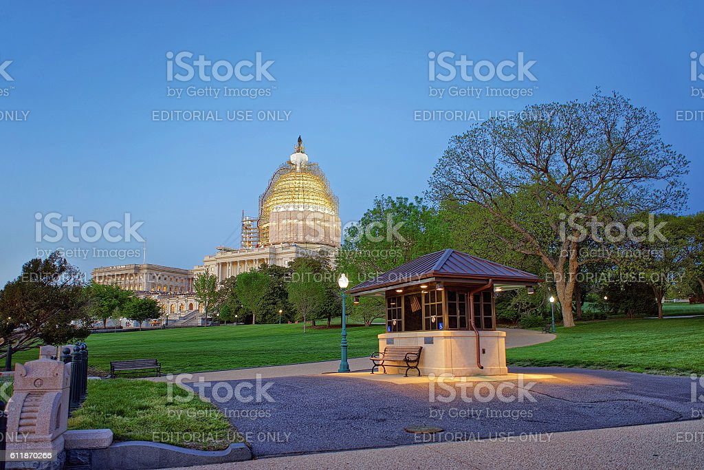 Evening view at the United States Capitol stock photo