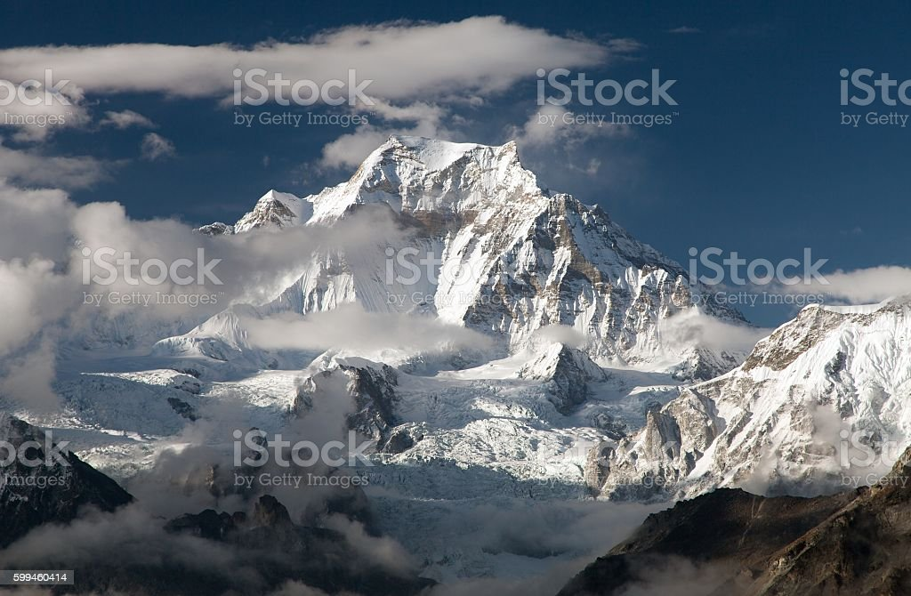Evening view from Gokyo Ri to mount Gyachung Kang stock photo
