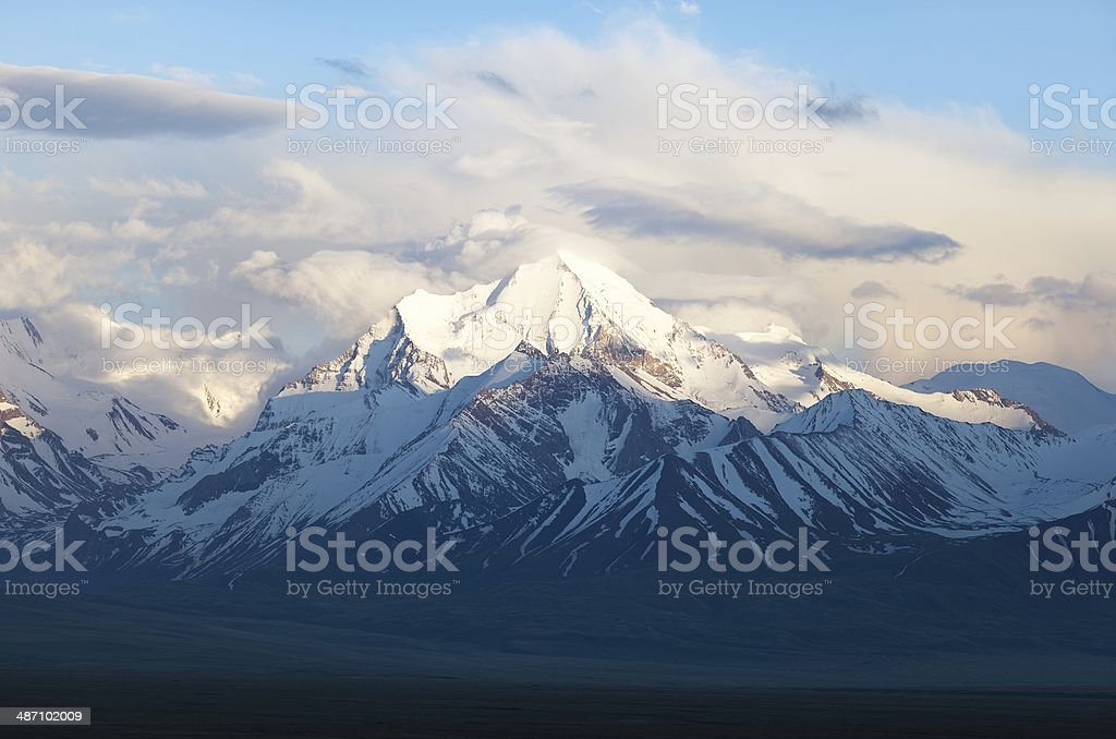 evening view from Pamir mountain stock photo