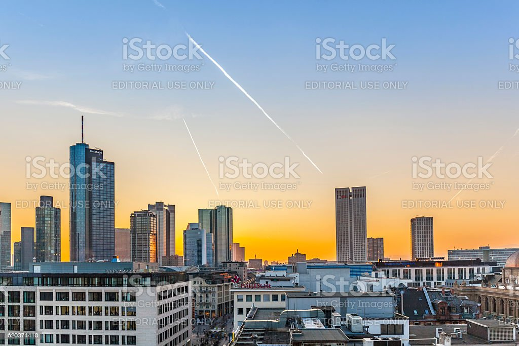 Evening View from sky bar, Frankfurt City Hauptwache stock photo