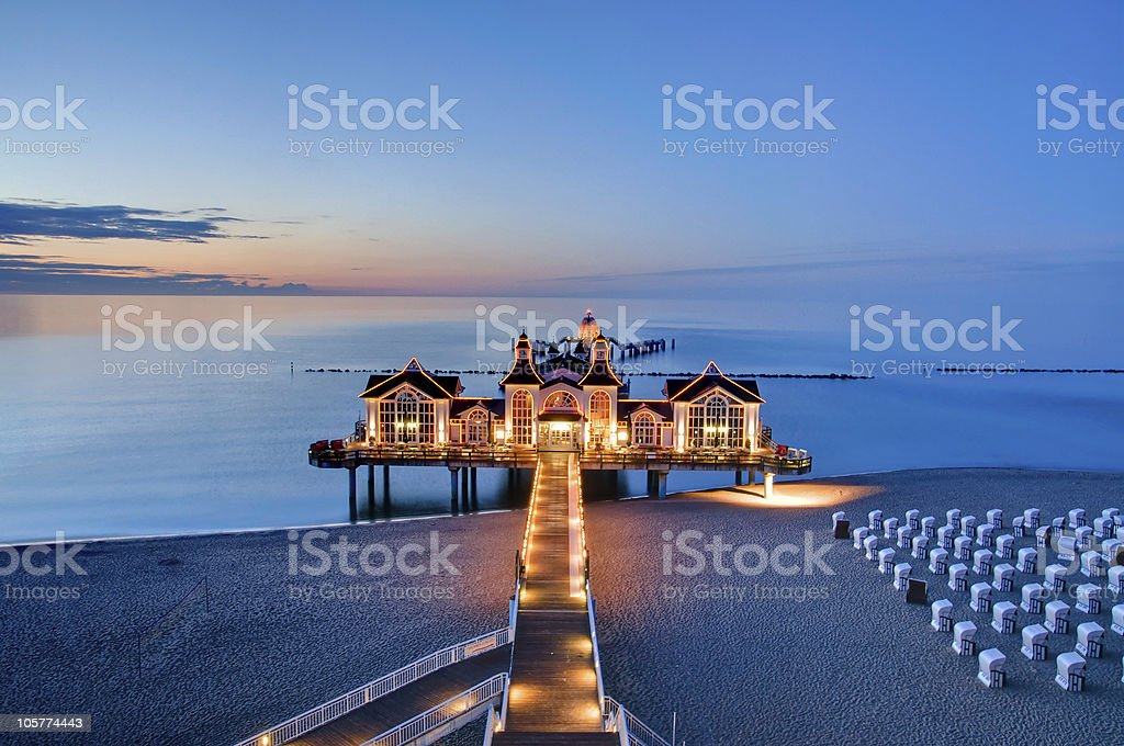 Evening view of a pier at the Baltic Sea stock photo