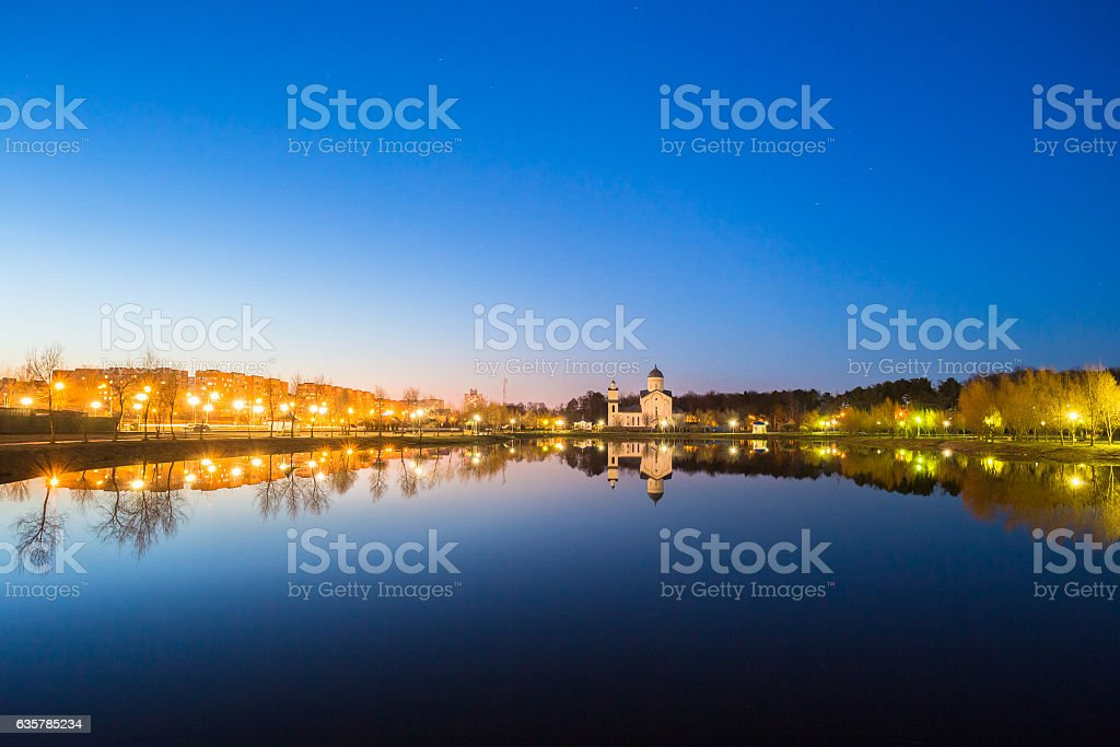 Evening View Of Alexander Nevsky Orthodox Church Behind Illumination stock photo