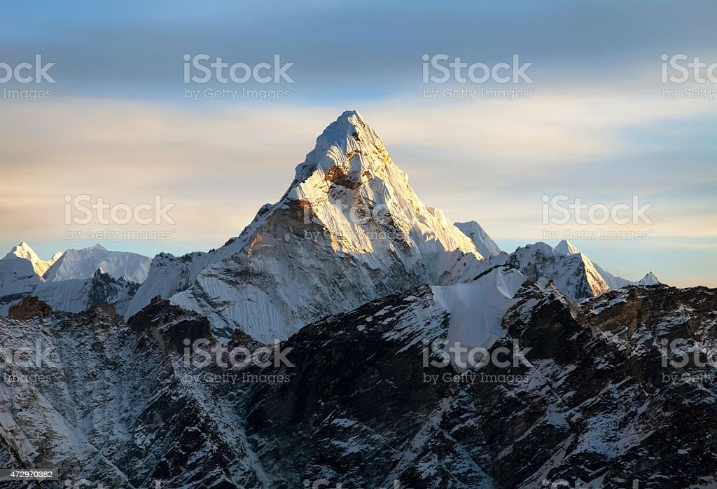Evening view of Ama Dablam on the way to Everest stock photo