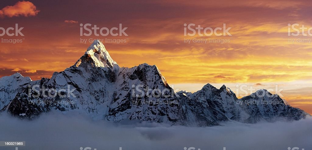Evening view of Ama Dablam royalty-free stock photo