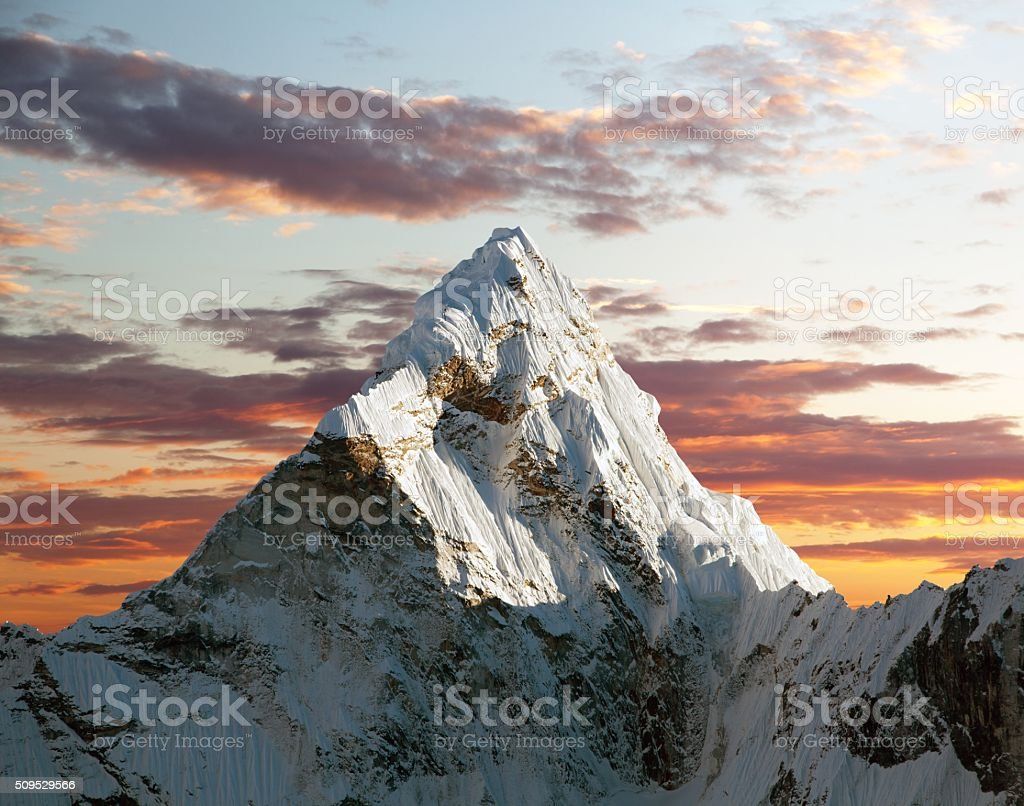 Evening view of Ama Dablam stock photo