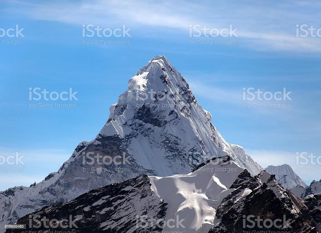 Evening view of Ama Dablam stock photo