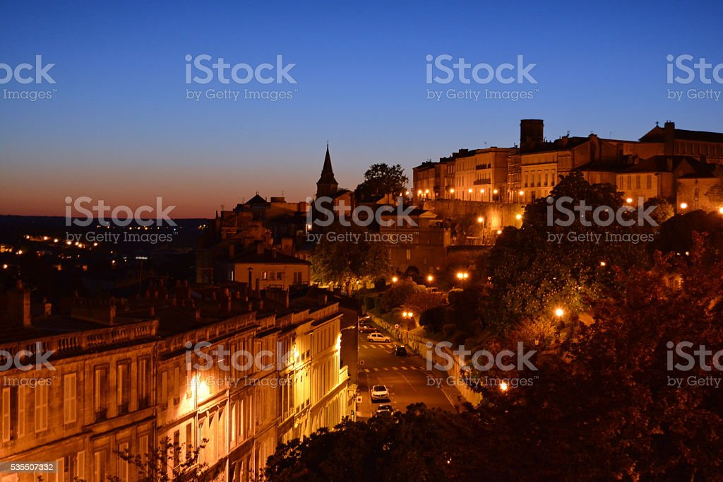 Evening view of Angouleme, France. stock photo