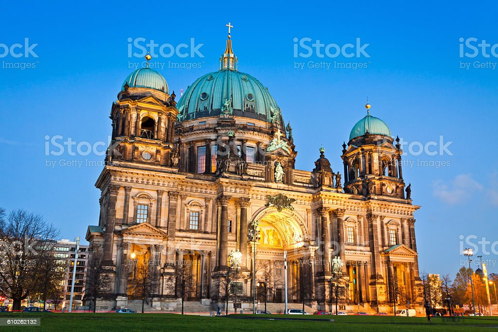 Evening view of Berlin Cathedral, Germany stock photo