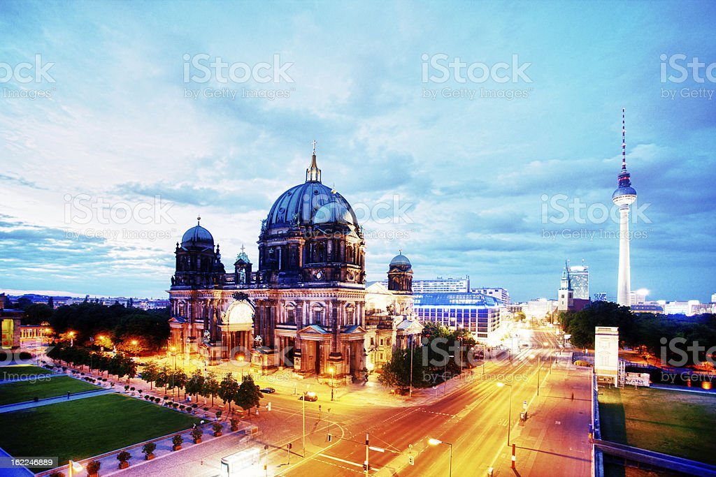 Evening view of Berliner Dom stock photo