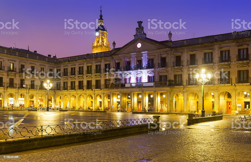 Evening view of  Berria Square (New Square) and city hall stock photo