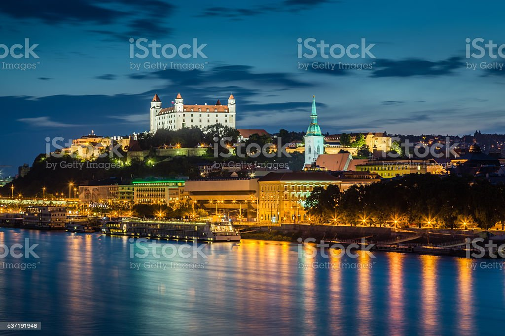 Evening view of Bratislava, Slovakia. stock photo