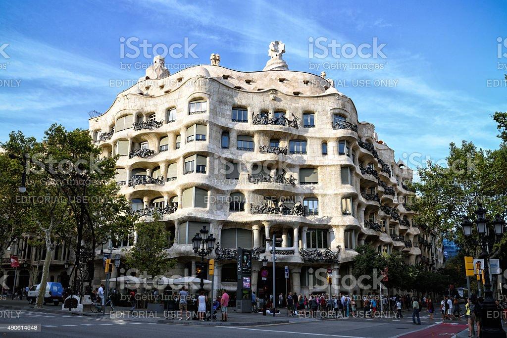 Evening view of Casa Mila, Barcelona stock photo
