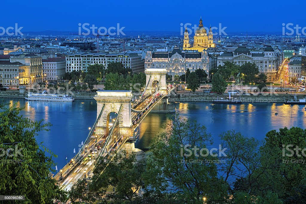 Evening view of Chain Bridge and St. Stephen's Basilic, Budapest stock photo