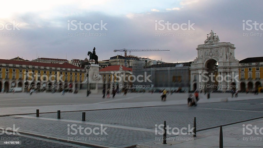 Evening View Of Commerce Square In Lisbon Portugal,Southwestern Europe