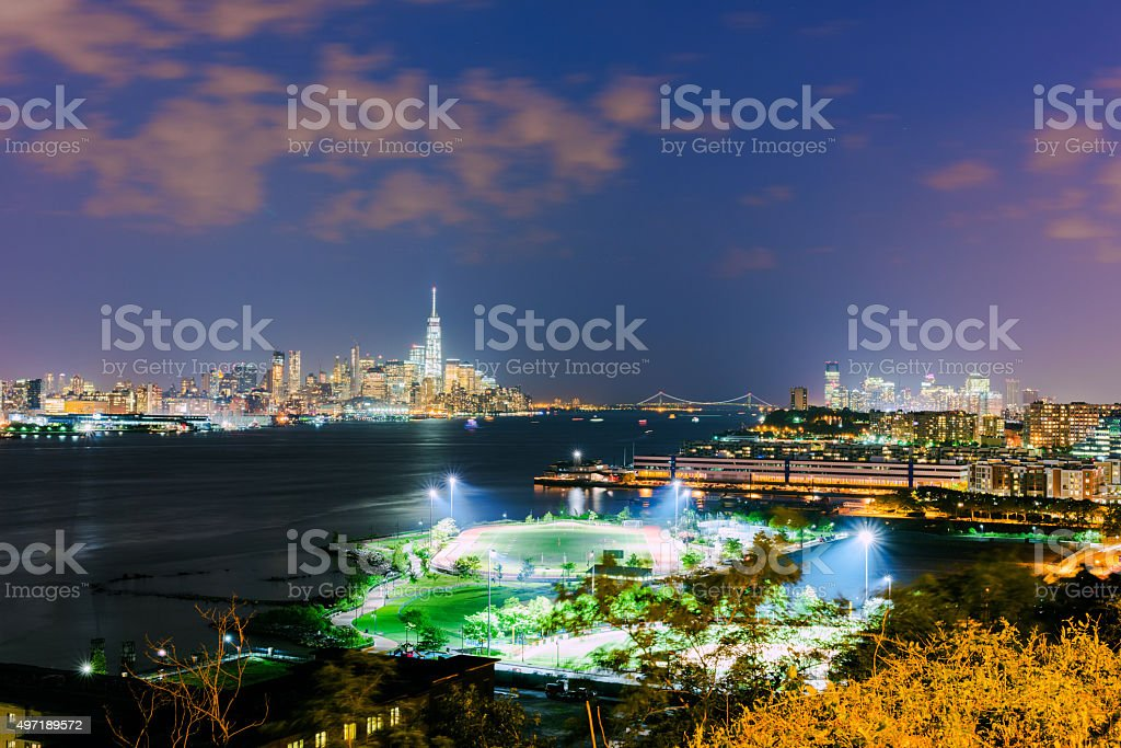 Evening view of Downtown Manhattan over the Hudson River stock photo