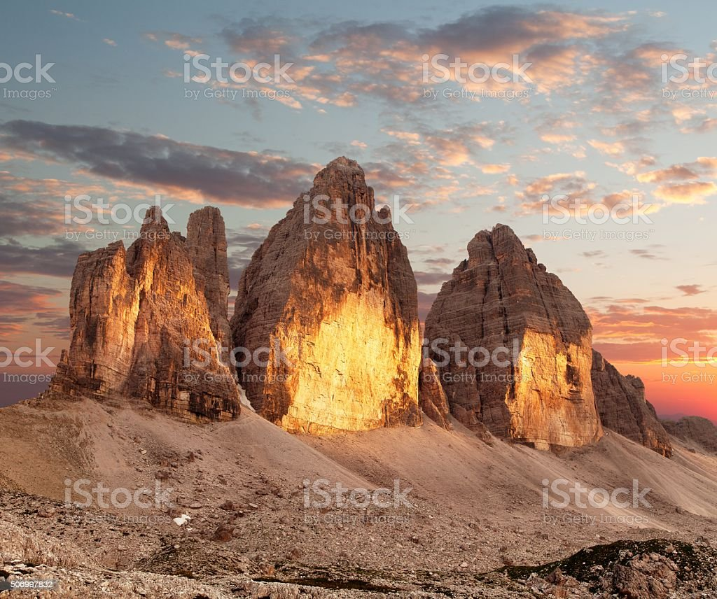 Evening view of Drei Zinnen or Tre Cime di Lavaredo stock photo