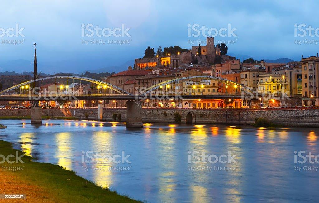Evening view of Ebro  with bridge and Suda Castle stock photo