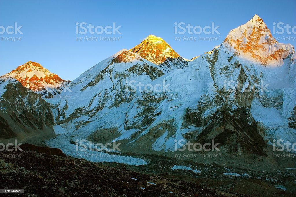 Evening view of Everest and Nuptse from Kala Patthar royalty-free stock photo