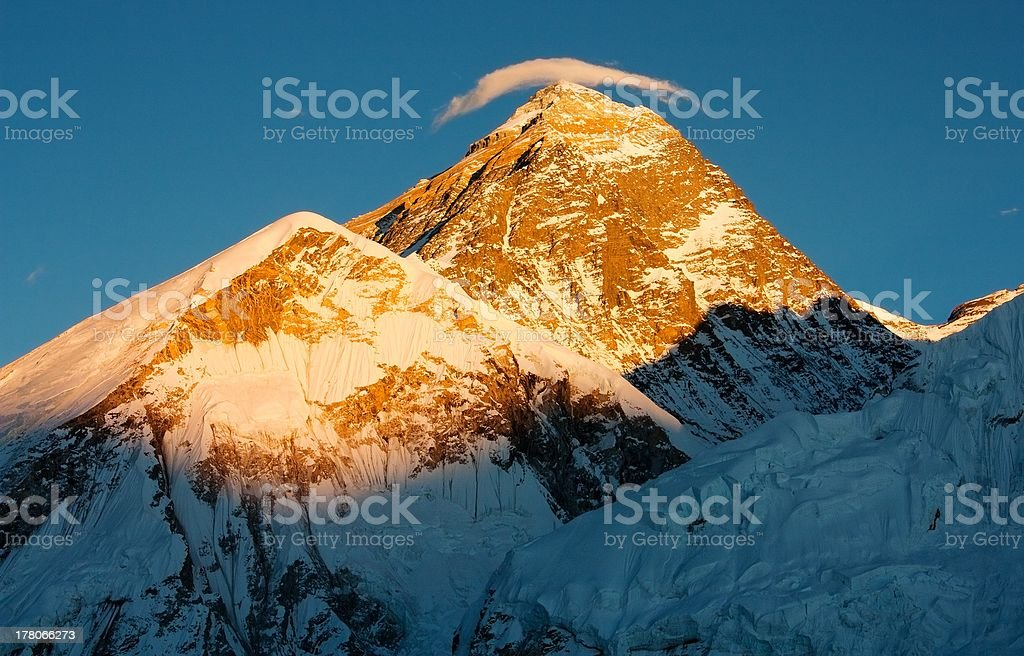 evening view of everest from kala patthar royalty-free stock photo