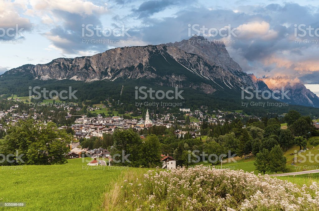 Evening view of famous Cortina d'Ampezzo, Dolomites, Italy. stock photo