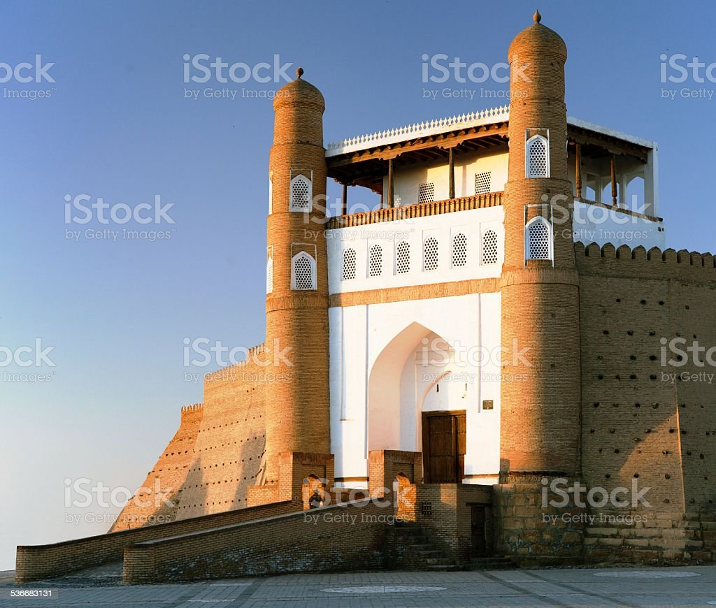 evening view of fortres Ark - Ark entrance stock photo