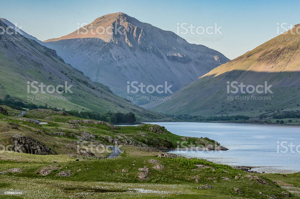 Evening view of Great Gable Mountain in Lake District. stock photo