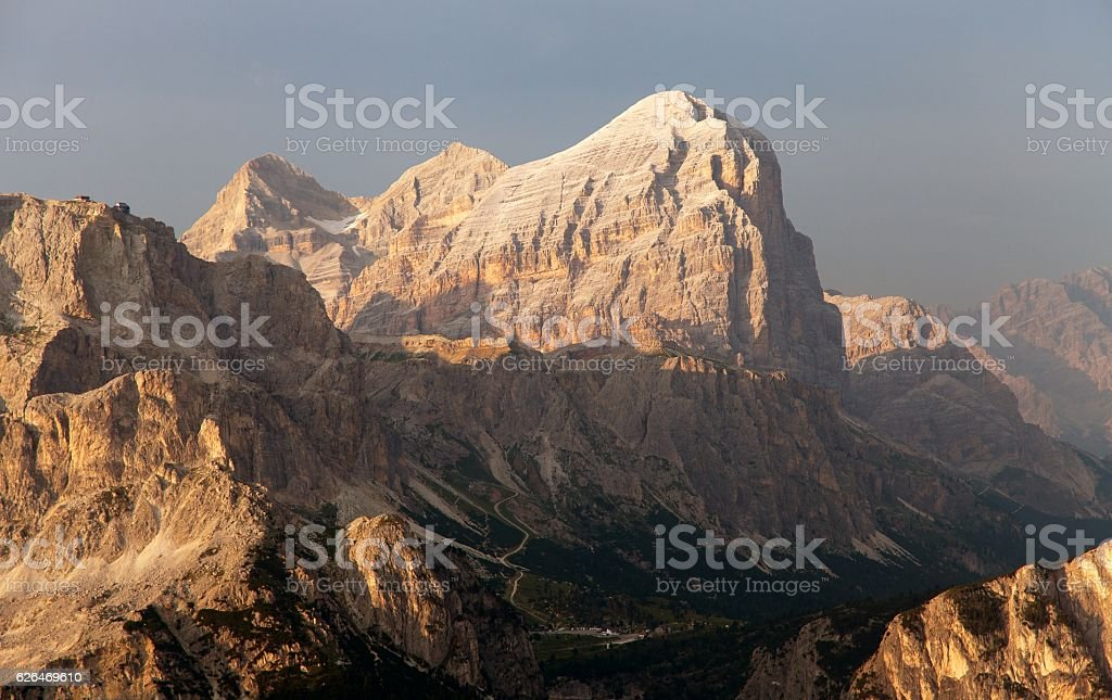 Evening view of Gruppo di Tofana or Tofane Grupe stock photo