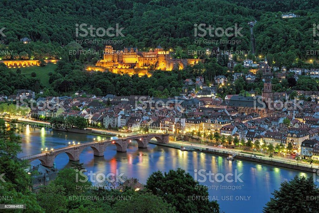 Evening view of Heidelberg with Heidelberg Castle, Germany stock photo