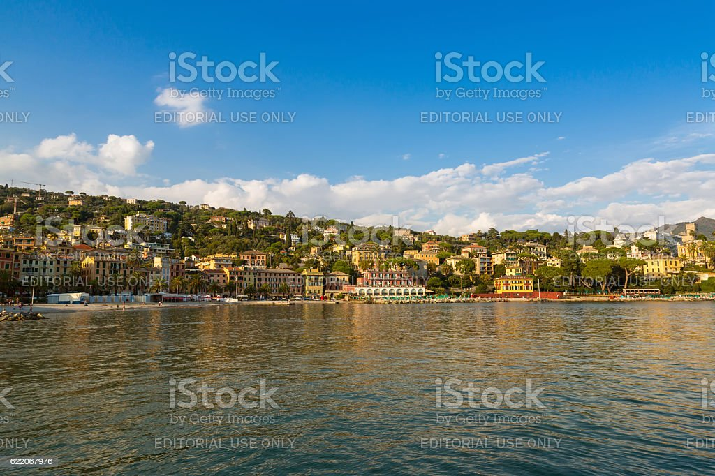 Evening view of hotels restaurants houses at Tigullio Gulf, Italy stock photo