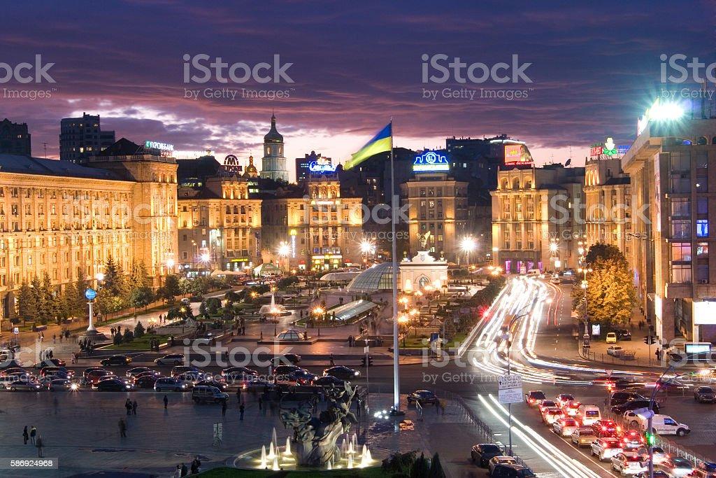 Evening view of Kiev stock photo