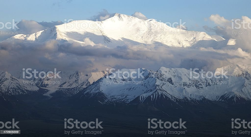 Evening view of Lenin Peak - Pamir stock photo