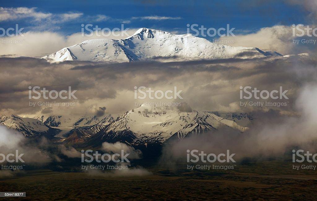 Evening view of Lenin Peak stock photo