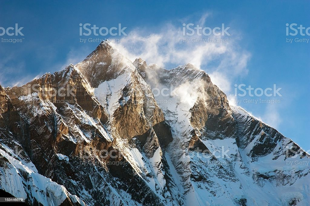evening view of Lhotse with windstrom royalty-free stock photo